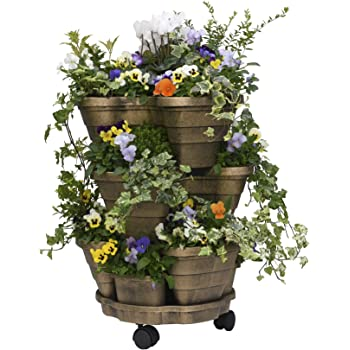 Garden Grow Outdoor Planter 3 Tiered Plant Pot Self Watering With