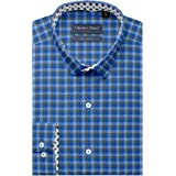 Charles Dino Mens 100% Giza Cotton Slim FIT Light Dark Royal Blue Checkered Shirt for Casual WEAR