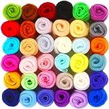 SOLEDI Filzwolle Märchenwolle 36 Farben Roving filzen Nadelfilzen Starter Set für Nassfilzen und Trockenfilzen DIY Handwerk Weihnachten Puppe Kammzug Fein Deko (36 Farben)