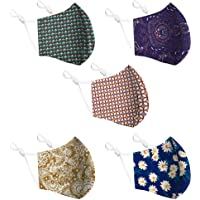 Cotton Face Mask 5 Pack | Handmade in UK Washable Reusable with Nose Wire | Filter Pocket | Adjustable Ear Loops | 3…