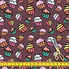 ArtzFolio Cupcake Canvas Fabric Dress Material & Upholstery