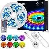 Tiras LED OUSFOT Tira LED RGB 5M 5050 con Control Remoto de 44 Claves 150 LEDs 20 Colores 6 Modos de Brillo y Adaptador de Al