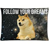 Bedding Pillow Cover Space Doge Follow Your Dreams Quote Comfortable Rectangle Pillowcase 20x30 Inch