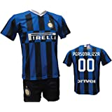 Completo Calcio Maglia Inter Personalizzabile + Pantaloncino Replica Autorizzata 2019-2020 Bambino (Taglie 2 4 6 8 10 12) Adu