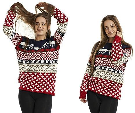 Crazy Girls Unisex Mens Womens Reindeer Christmas Jumper Fairisle ...