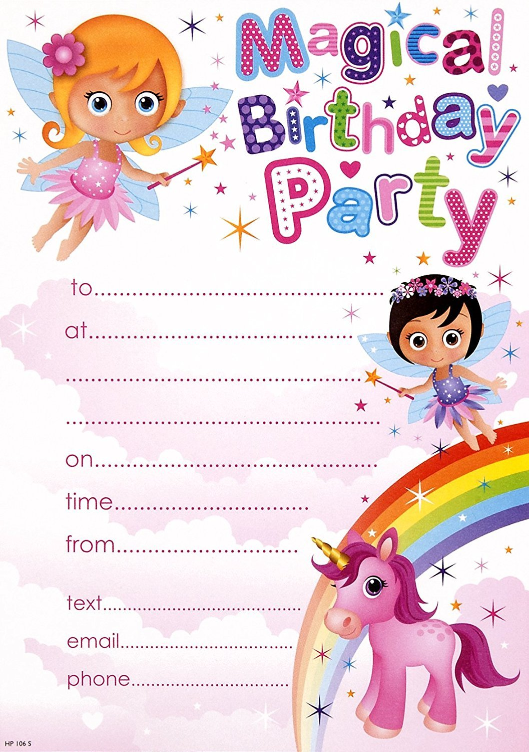 Pack Of 20 Childrens Birthday Party Invites Girls Fairys Pony – Girls Birthday Party Invites