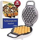 Hong Kong Bubble Waffle Maker by StarBlue with Bonus Recipe e-Book - White - Make Hong Kong Style Bubble Egg Waffle in 5 Minutes, AC 220-240V 50/60Hz 640W, UK Plug