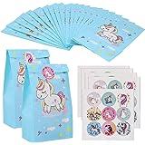 20 Pezzi Sacchetti Regalo di Carta, con 45 Adesivi Unicorno Caramella Sacchetto sacchetti festa compleanno bambini, Borsa da