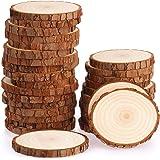 Fuyit Rondin de Bois sans Trou Diamètre 7-8cm 30 Pcs Tranches de Bois Naturel Convient pour Decoration Noel Bois, Marque Plac