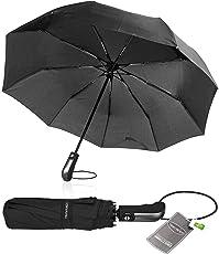 TRAVANDO Regenschirm Taschenschirm - Sturmsicher bis 150 km/h - Teflon Beschichtung - Fiberglasverstärkt - Innovative Einknopf-Automatik - bis zu 2 Personen - klein, leicht, bruchsicher (schwarz)