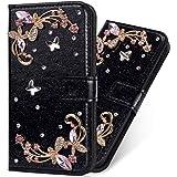 Mylne Diamond Case for Huawei P Smart 2021,Glitter Rhinestone Flower PU Leather Folio Flip Wallet Cover Magnetic Closure Card