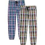AjezMax Ladies 100% Cotton Pyjama Trousers Bottoms Plaid Pajama Lounge Pants 2 Pack