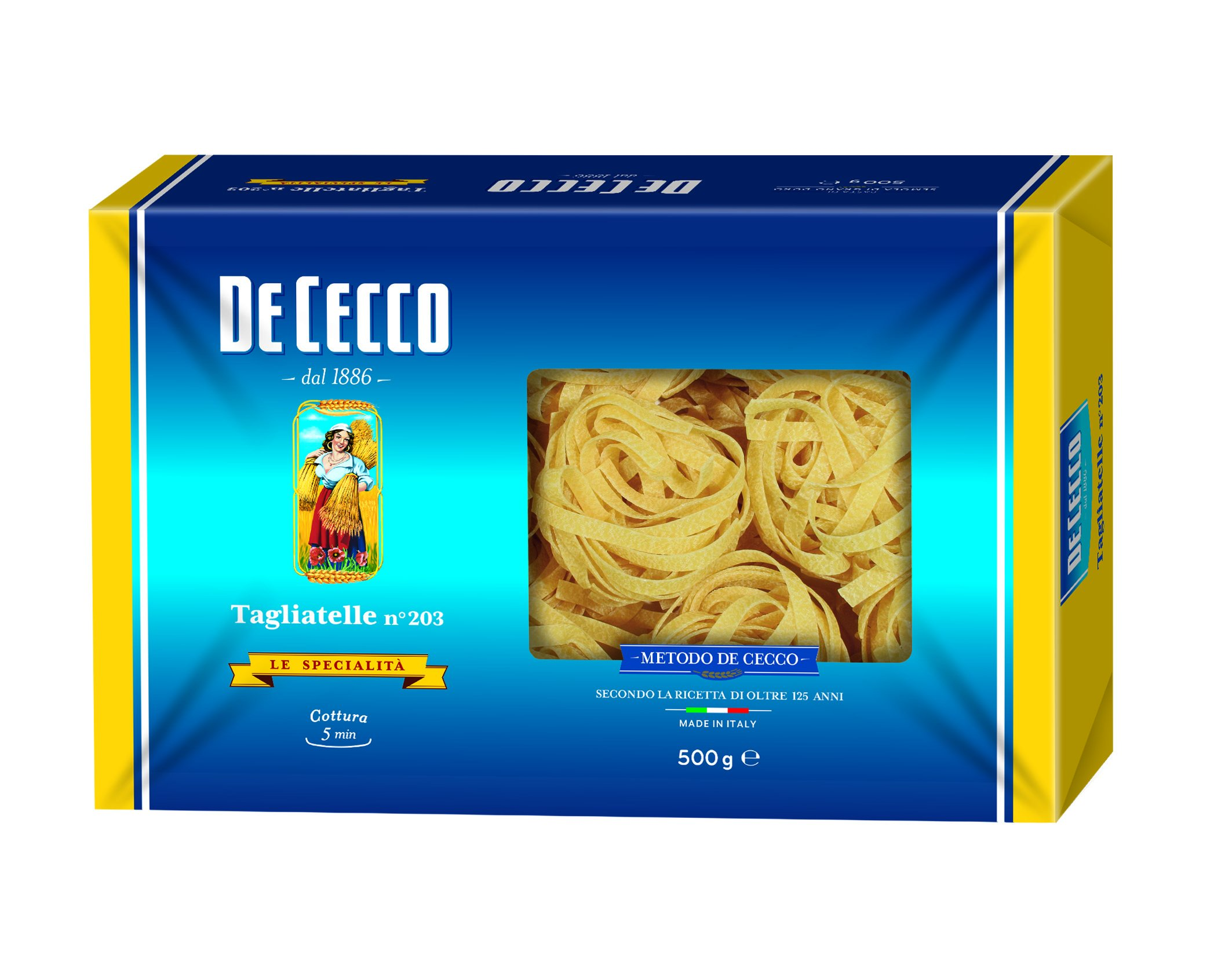 De Cecco Tagliatelle Pasta - Paquete de 10 x 500 gr - Total: 5000 gr