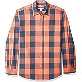 Amazon Essentials Hombre Camisa de popelín Gingham de manga larga y ajuste normal