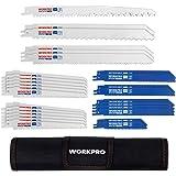 WORKPRO Reciprozaag Bladen Set, 32 Stuks Reciprozagen Blade voor Metaal/Hout Snijden, Met Organizer Pouch