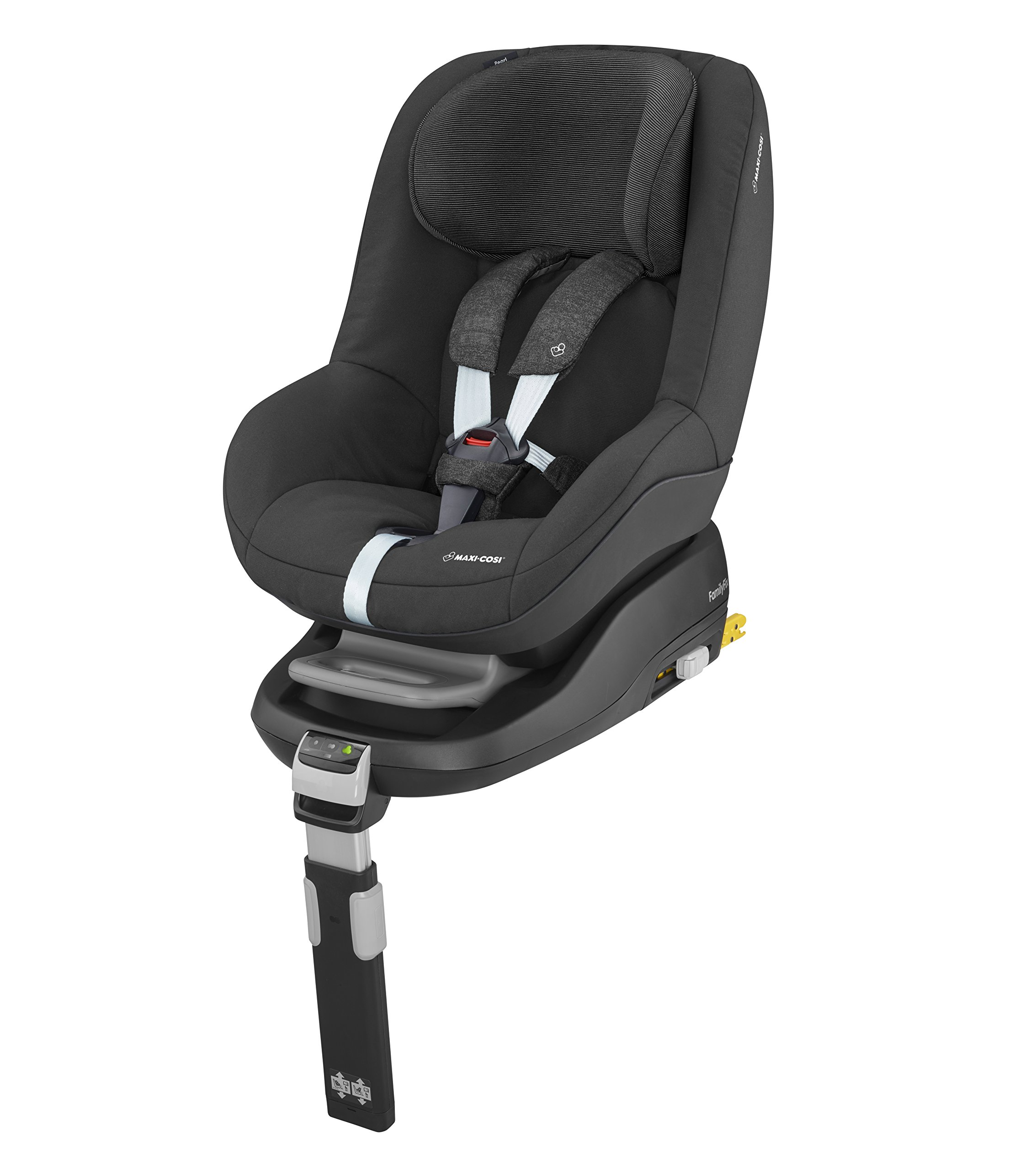 Maxi-Cosi Pearl Toddler Car Seat Group 1, ISOFIX Car Seat, Compact, , 9 Months - 4 Years, 9-18 kg, Nomad Black Maxi-Cosi Interactive visual and audible feedback when the pearl is correctly installed with the maxi-cosi family fix base in the car Spring-loaded, stay open harness to make buckling up your toddler easier as the harness stays out of the way Simultaneous harness & headrest adjustment can be operated with one-hand 4