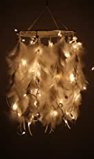 Daedal dream catchers Wool and Wool-Blend Feather with Lights, Standard (White, DDC3)
