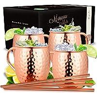 Vezato Verre Moskau Mule [500ml] - Verre en cuivre pour Moskau Mule avec pailles - Verre moscow mule fait main [4 pièces…