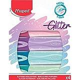 Maped - Pochette de 4 surligneurs Fluo'Peps Classic Glitter - Surligneurs à paillettes - 4 coloris: bleu, vert, violet et ro