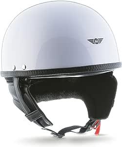 Moto Helmets D22 White Brain Cap Halbschale Jet Helm Motorrad Helm Roller Helm Retro Fiberglas Schnellverschluss Slimshell Tasche M 57 58cm Auto