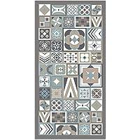 Panorama Tapis du Sol Vinyle Style Carreaux Ciments Bleu 40x80 cm - Tapis de Cuisine en PVC Linoléum Vinyle…
