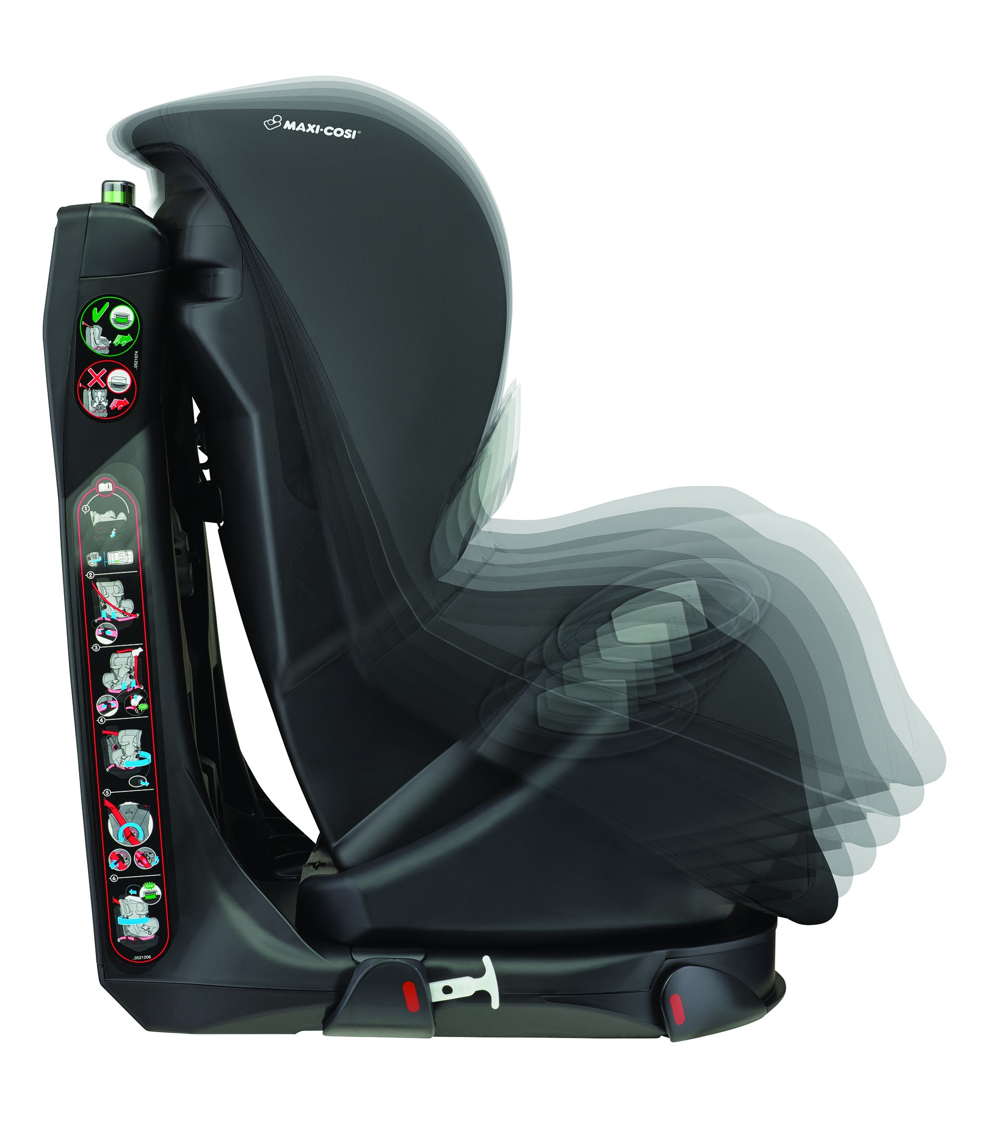 Maxi-Cosi Axiss Toddler Car Seat Group 1, Swivel Car Seat, 9 Months-4 Years, Nomad Black, 9-18 kg Maxi-Cosi Car seat swivels 90° degrees allows for front-on access to get your toddler in and out of the car more easily 8 comfortable recline positions. Machine washable cover at 30° Install using the car's seat belt and the integrated belt tensioner ensures a solid fit 4