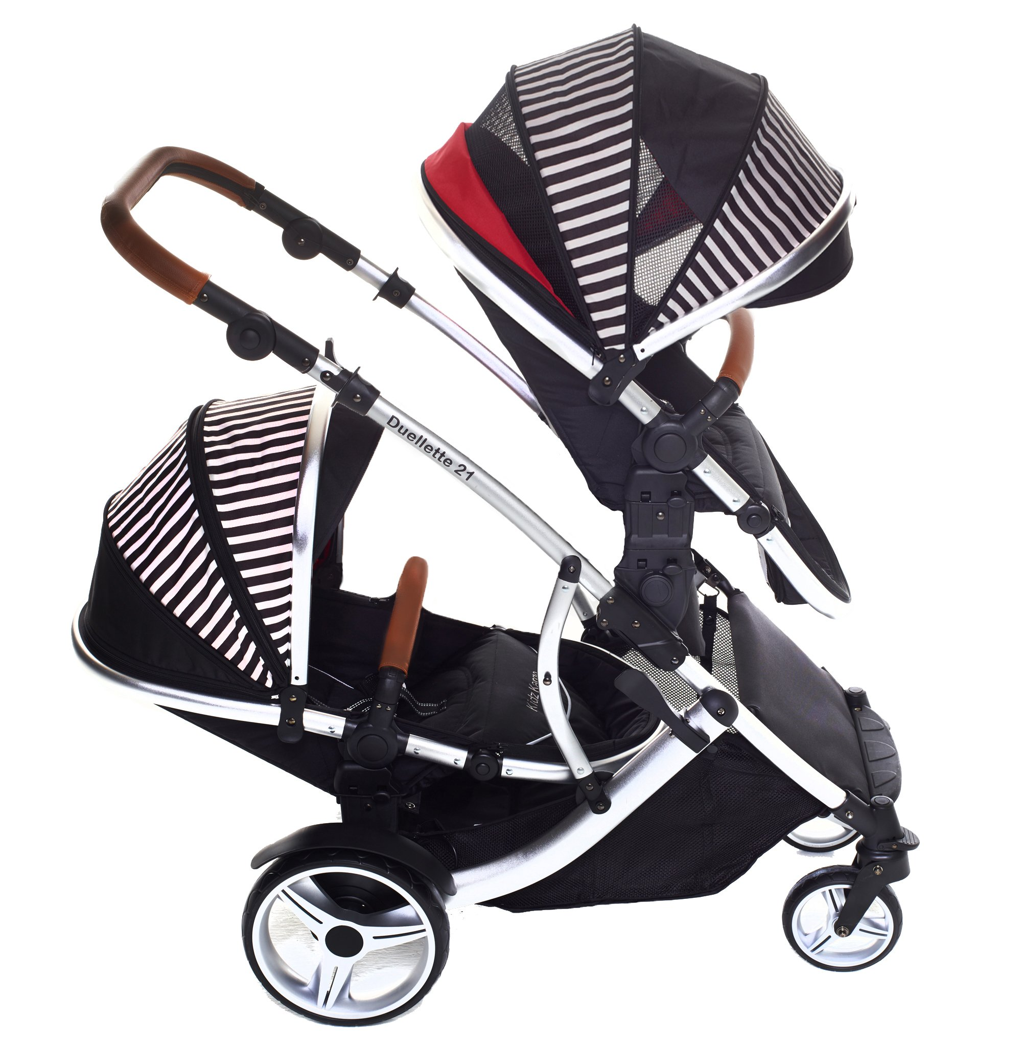 Kids Kargo Duellette 21 Bs Twin Double Pushchair Stroller Buggy with Tan Handle Pack (Oxford Stripe) Kids Kargo Fully safety tested Various seat positions. Both seats can face mum (ideal for twins) Suitability Newborn Twins (if used with car seats) or Newborn/toddler. Accommodates 1 or 2 car seats 1