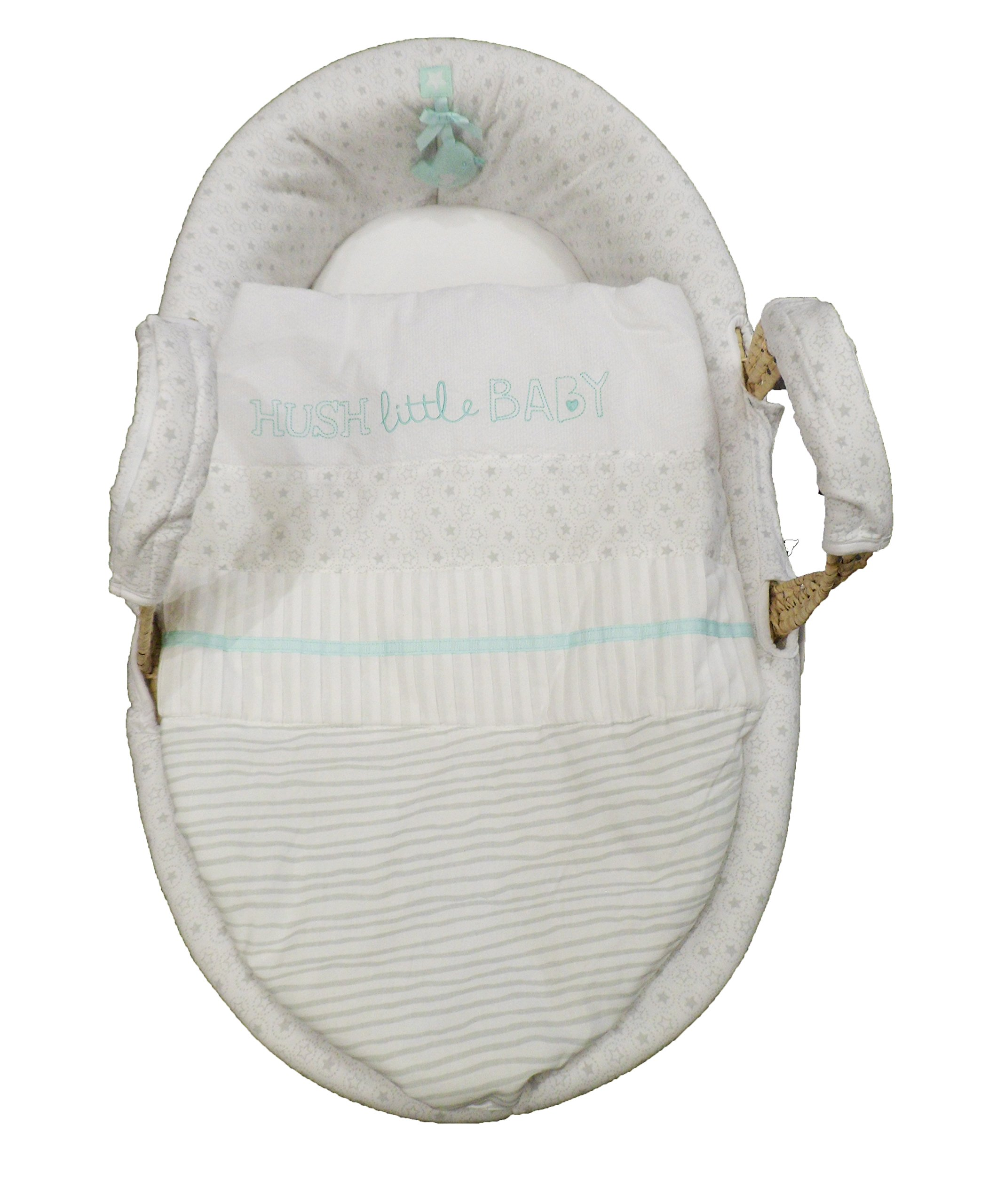 Natures Purest Hush Little Baby Palm Moses Basket  Dressed on a palm Moses basket, base measurement 70cm Padded dressing for added comfort Dressings are machine washable 1