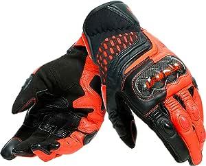 Dainese Motorradhandschuhe Kurz Motorrad Handschuh Carbon 3 Handschuh Kurz Schwarz Fluo Rot 3xl Herren Sportler Ganzjährig Leder Textil Bekleidung