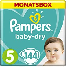 Pampers Baby-Dry Windeln, Gr. 5, 11-16kg, Monatsbox, 1er Pack (1 x 144 Stück)