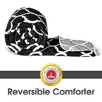 Divine Casa Polyester 110 TC Reversible Comforter (Single_Grey And Black)