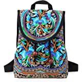 Mazexy handgefertigte bestickte Rucksack für Damen, Boho-Umhängetasche, Vintage, ethnische Blume, Cross-Body-Tasche