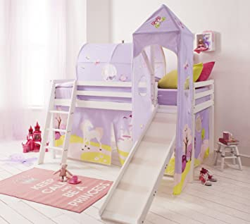 Cabin Bed midsleeper with SlideTent Tunnel u0026 Tower Princess Fairytale (Solid White & Cabin Bed midsleeper with SlideTent Tunnel u0026 Tower Princess ...