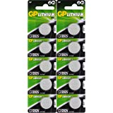 GP Lithium Knopfzellen CR2025 3V, 10 Knopfbatterien CR 2025 Spannung 3 Volt für verschiedenste Geräte- und Verbraucheranwendu