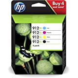 HP 912XL Pack de 4 Cartouches d'Encre Noire, Cyan, Magenta, Jaune grandes capacités Authentiques (3YP34AE) pour HP OfficeJet