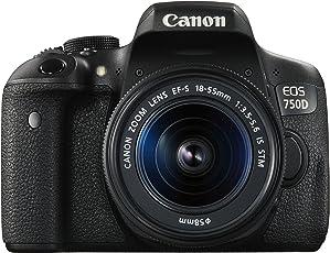 Canon EOS 750D SLR-Digitalkamera (24 Megapixel, APS-C CMOS-Sensor, WiFi, NFC, Full-HD, Kit inkl. EF-S 18-55 mm 1:3,5-5,6 IS STM) schwarz