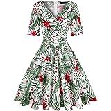 MINTLIMIT Damen 1950s Vintage Tiefer V-Ausschnitt Halbe Ärmel Retro Cocktail Schwingen Kleid