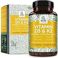 Vitamine D3 Triple Puissance 3000 UI & Vitamine K2 MK7 | 120 Capsules Végétariennes | Pour La Santé Des Os, Des Muscles | Vitamine D Haute Absorption du Cholécalciférol Par Nutravita