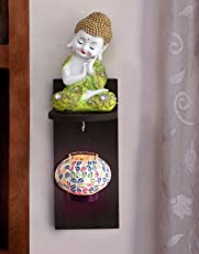 Tied Ribbons Lord Buddha Hanging tealight Holder, Multicolour