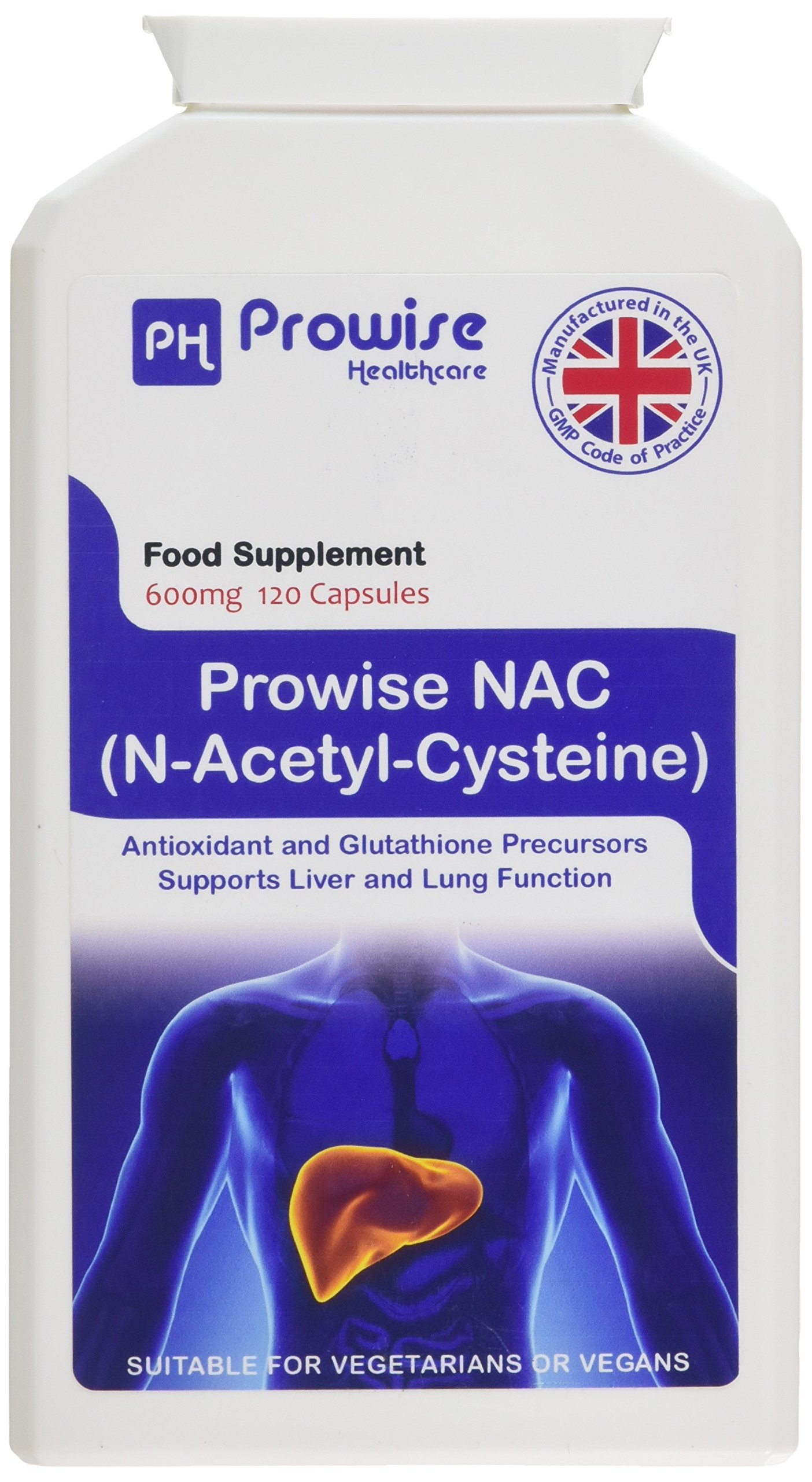 NAC N-acetil-cisteina 600mg 120 capsule - Prodotto nel Regno Unito   Standard GMP di Prowise Healthcare   Adatto a… 1 spesavip