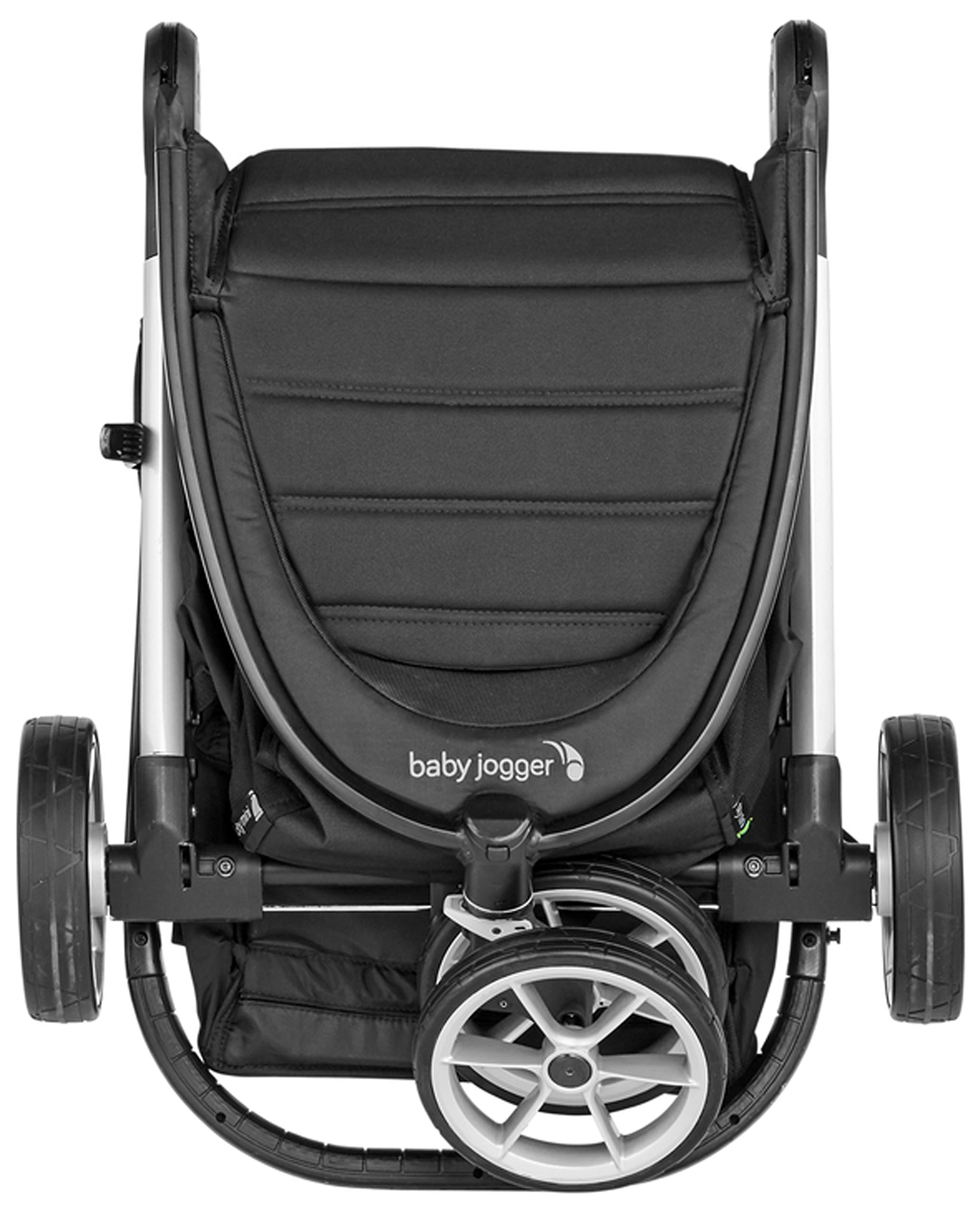 baby jogger City Mini 2 Single Stroller Jet Baby Jogger The baby jogger city mini 2 has an all new lightweight and compact design with the signature one-hand compact fold, with an auto-lock it's remarkably nimble and ready for adventure Lift a strap with one hand and the city mini 2 folds itself: simply and compactly. The auto-lock will lock the fold for transportation or storage The seat, with an adjustable calf support and near-flat recline, holds a child weighing up to 22kg and includes a 5-point stroller harness to keep them comfortable and safely secured 8