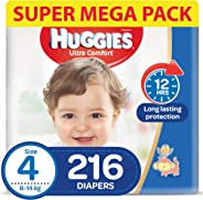 HUGGIES Ultra Comfort Diapers, Size 4, Jumbo Pack, 8-14 kg, 216 Diapers