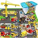 RuiDaXiang Juegos de Juguetes para vehículos de construcción de ingeniería, con tapete Play Ciudad, Camiones de Juguete, Jueg