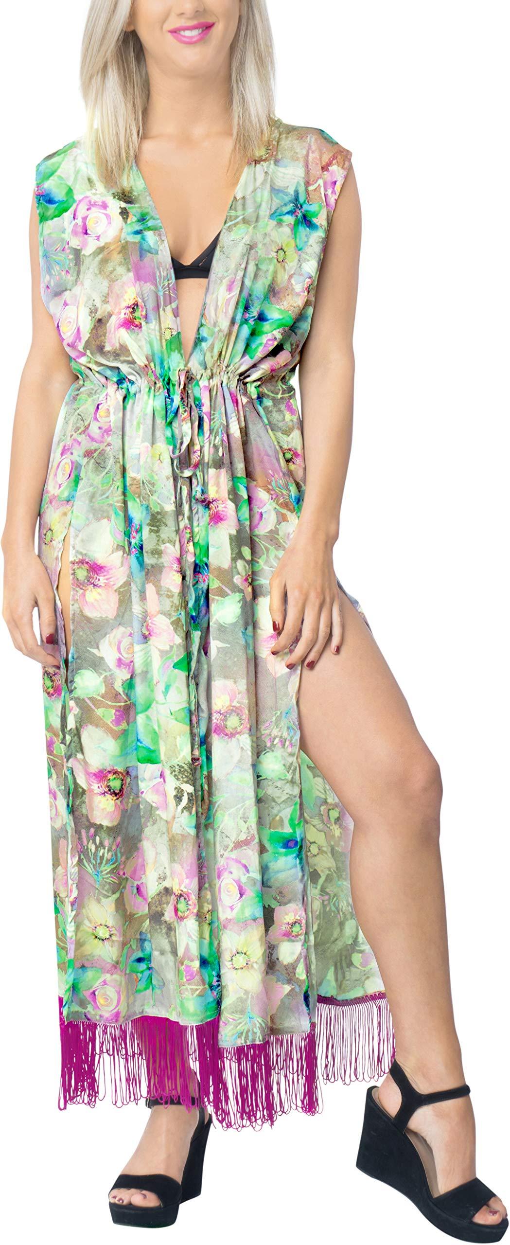 LA LEELA Seta Kimono Cardigan Lungo Donna Estivo Pizzo Boho Copricostume Abito da Mare Spiaggia per Costumi da Bagno… 1 spesavip