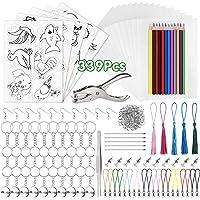 PLULON 339 Pcs Plastique Fou Kit, 20 Papier Plastique Fou, 5 Papier d'art Rétractable avec Motif, Perforateur, Crayons…