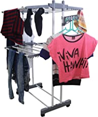 INDISWAN Steel Double Pole Heavy Duty 2 Layer Cloth Drying Rack, Height-4 Ft (Grey, MS-2TIER)