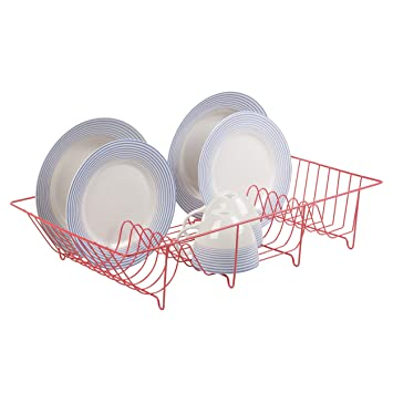 High Quality Metal Wire Coated Dish Rack Kitchen Sink Drainer (Red)