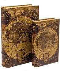 2x Schatulle Weltkarte Holz Buchattrappe Box Kästchen Schmucketui Buch Antikstil
