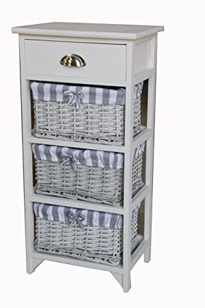 Shabby Chic Modern Wooden White Cabinet Storage Units Cupboard Bedside Table With 3 Wicker Baskets Drawer Bedroom Bathroom Kitchen Furniture 3 Baskets