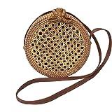 Runde Rattan Tasche/Korbtasche mit Netzmuster Handmade und mit traditionell bedrucktem Futter (Umhängetasche, Vintage Ata Bali Bag)